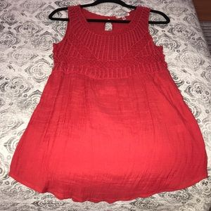 Crochet Soft red top with lose fit